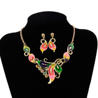 Wholesale green austrian crystal earrings for sale - Group buy 18k Yellow Gold Plated Austrian Crystal Enamel bridal Jewelry Sets Flower Jewelry Sets Chain Necklace Earrings Sets