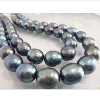 Wholesale strands tahitian black pearls - SINGLE STRANDS 12-14MM TAHITIAN BLACK PEARL NECKLACE 35inch 14k