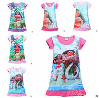 Wholesale Tencel Baby - Moana Girls Cartoon Dresses Summer Kids Dress Short Sleeve MOAMA Polyester Nightdress Kids Clothing Baby Clothes Christmas Gifts