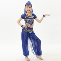 Wholesale Belly Dance Sequin Costume - 2017 Indian Dance Costumes For Children 2pcs 6pcs Kids Belly Dancing Costume Bellydance Tribal Danza Del Ventre Gypsy Costumes