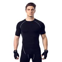 компрессионный бег оптовых-Фитнес костюм мужской баскетбол для бега тренировочная одежда эластичная компрессия быстросохнущие спортивные колготки с коротким рукавом