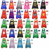 Wholesale Child Layers - 57 styles double layer kids cosplay Superhero Capes mask, Children cape masks,Halloween costume,Multiple choices cape and mask free shipping