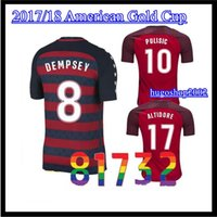 Wholesale Wholesale Football Jerseys Usa - DHL 10 Pcs USA Thailand Quality 2017 United States Gold Cup soccer Jerseys DEMPSEY DONOVAN BRADLEY PULISIC men 3RD red Football