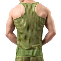 Wholesale See Through Spandex Mens - Novelty Sport Gym Casual See Through Fishnet Men Sexy Transparent Bodybuilding Stringer Tank Tops Fashion Brand 2017 Mens Mesh Tank Tops