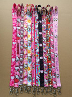 Wholesale Cartoon Neck Straps - Hot Sale! New Mix Design Lot 30 pc Cartoon kitty Mobile Phone straps neck LANYARD Charms Free Shipping