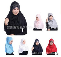 Wholesale Silk Head Caps - Free Shipping New Islamic Muslim Women's Head Scarf Summer Hijab Cover Headwear Bonnet Plain Caps Inner ice silk 7 colors are avaible