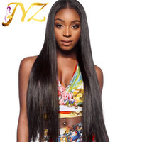 Wholesale Hand Tied Virgin Hair - Peruvian human Hair Wigs 100% Hand Tied Full Lace Wig Straight Medium Brown Lace Lace Front Wigs With Leached Knots