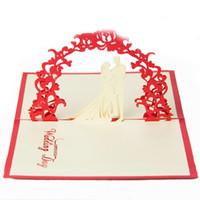 Wholesale Kirigami 3d Wedding - Sweety Wedding Invitation 3D Laser Cut Paper Cutting Greeting Pop Up Kirigami Card Custom Postcards Wishes Gifts ZA3609