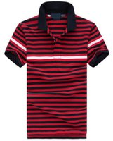 Wholesale Camisa American Shirts - Global Fashion Casual Men's Striped Polo Shirts Small horse Golf polos camisa American Design Classic Cotton Shirt