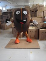Wholesale Coffee Beans Customs - 2017 Vivid Dark Brown Coffee Bean Mascot Costume Robusta Bean With Large Mouth Mascotte Mascota Adult Party Outfit