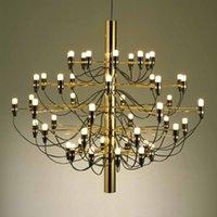 Wholesale Gino Sarfatti Chandelier - Modern Ceiling Light Pendant Lamp Italian Design Gino Sarfatti Pendant Lighting E14 30 Bulbs 50 Bulbs Chandelier Lighting in Gold Mod 2097