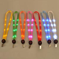 Wholesale Card Holder Necklaces - LED Light Up Lanyard Key Chain ID Badge Card Necklace Keys Holder Hanging Rope