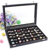 Wholesale High End Ring Boxes - High-end Black 100 Grids Ring Box Jewelry Storage Case Earring Display Jewelry Accessories Showcase Decoration With Glass Cover