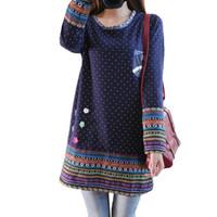 Wholesale Mori Plus Size - Wholesale- 2016 Women Winter Vintage Fleece Dress O neck Long Sleeve Mori Girl Cute Dresses Polka Dot Printed Flower vestidos Plus Size