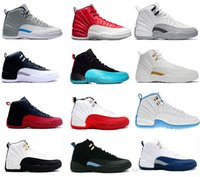 Wholesale Cheap Patent - Cheap 2018 12 basketball shoes 12s black white flu Game GS Barons Gym Red master taxi wolf grey playoffs university blue sneakers Size36-47