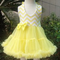 Wholesale Wholesale Chevron Girls Dress - High Quality Baby Girl Dress Chevron Cotton Chiffon Tutu Princess Kids Clothing Pleated Skirt For Summer 5 Color Option