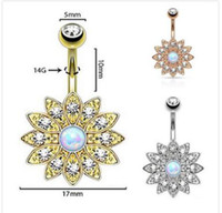 Wholesale Gilt Buttons - Good quality Exquisite flower diamond navel bell button rings gilding the body of popular piercing jewelry three colors