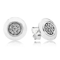 Wholesale Authentic Sterling Silver Earring Pan Signature WIth Crystal Stud Earrings For Women Wedding Party Gift HK3D3
