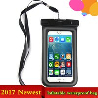 Wholesale Inflatable Mobile Phone - Universal Clear TPU Inflatable IPX8 Waterproof Mobile Phone Case Bag for I7 I6Plus Galaxy S8 S7edge Waterproof Dry Bag for Phone 5.8Inch