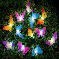 iluminação conduzida ao ar livre da borboleta venda por atacado-12 LED Solar Powered Borboleta Fada De Fibra Óptica Cordas Ao Ar Livre Luzes Do Jardim Festival de Férias Decoração Do Partido