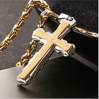 Wholesale Double Chain Necklace Gold - European and American new fine hot style jewelry bible verses gold double-cross titanium steel pendant necklace