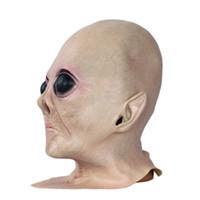silicone face realista venda por atacado-Assustador Máscara Facial de Silicone Realista Estrangeiro Ufo Extra Terrestre Partido Et Horror De Borracha De Látex Máscaras Completas Para Festa de Traje