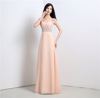 Горячие продажи В наличии Pretty Elegant Women's A-Line V-образным вырезом Backless Beading Sequin Pink Homecoming Dress Evening Party Dress