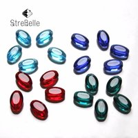 Wholesale Oval White Bead - 200pcs lot Blue red white Flat Oval Beads DIY Fittings crystal beads jewelry findings AAA Grade StreBelle Beads