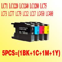 Wholesale Ink Cartridge Lc75 - 5PCS(2BK+1C+1M+1Y) LC40 compatible ink cartridge for Brother LC40 LC71 LC1220 LC1240 LC1280 LC75 LC73 LC77 LC79 LC12 LC17 LC450 LC400