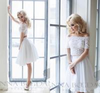 Wholesale Bridal Evening Prom Cocktail Bridesmaids - 2017 White Applique Lace Wedding Bridal Dresses Short Party Bridesmaid Dresses Off The Shoulder Bateau Neck Two Pieces Bridal Gowns Chiffon