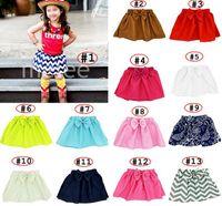 Wholesale Chevron Kid Skirt - girls ins big Bow knot skirt infant chevron Gauze Bubble Skirt Kids Tutu Shorts Elastic Short Pants 15colors choose free ship