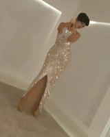 Wholesale Sheer Nude Color Dress - 2017 Sexy Pageant Dresses High Neck Beaded Nude Fashion Front Split Floor Length Evening Gowns with Keyhole Back Design