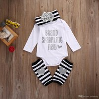 Wholesale Warm Baby Onesies - INS 2017 Baby girl Kids Toddler Summer 3piece outfits Romper Onesies Diaper Covers + Bow Headband + Ruffles Leg Warmer Fast Shipping DHL EMS