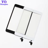 ipad mini lentes venda por atacado-Para ipad mini 1 mini 2 painel touch screen digitador painel de vidro sensor de lente reparação + ic + botão home flex frete grátis