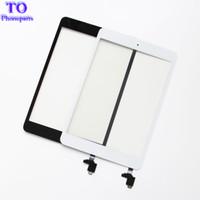 Per iPad mini 1 mini 2 Touch Screen Panel Digitizer Glass Panel Lens Sensor Repair + IC + Home Button Flex spedizione gratuita