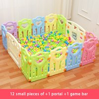 Wholesale Games Explore - Baby Safety Fence Play Yard Barrier Indoor Outside Baby Game Playpens Kids Play Fence a game door + a game bar +12 fence