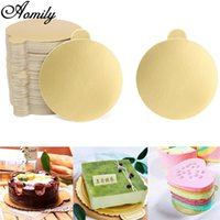 Aomily 100pcs / Set Round Mousse Cake Boards Gold Paper Cupcake Dessert Displays Tray Wedding Birthday Cake Pastry Decorative Kit