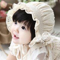 Wholesale Korean Bonnet Hat - New Korean Lace Newborn Baby Girls Cotton Hats Sun Cap Bonnet Infants Toddler Sunhat Beanies 0-8 Month Bucket Hats