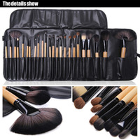 Wholesale Lighted Professional Make Up Case - New Professional 24pcs Makeup Brush Set Make-up Toiletry Kit Wool Brand Make Up Brush Set Case Free DHL