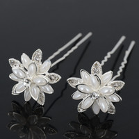 20pcs / Lot Bridal Jewelry Acessórios Pérola Faux / Flower Diamante Pinos De Cabelo Cristal Clips Bridesmaid U Shape Pins
