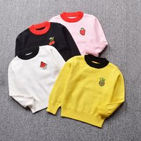 Wholesale Cute White Long Sleeve Sweater - New Children Cotton Long-Sleeve Unisex Sweater Knit Soft Kid's Fruit Embroidery Girls Tops Blouses Cute Pattern Boys Sweater 2-6T