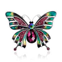 jóia do lagarto venda por atacado-Atacado-1PC europeu Vintage borboleta inseto esmalte broche Pin mulheres cristal simulado pérola lagarto broches jóias lapela pinos P1215