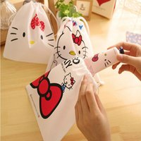 Wholesale Small Drawstring Travel Pouches - Wholesale- Cartoon Makeup Bag Hello Kitty Bunched Cosmetic Bag Cute Small Drawstring Storage Makeup Organizer Travel Necessaire Pouch