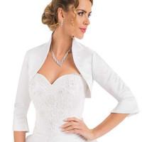 ingrosso disegni giacca bolero-Semplice design 3/4 Sleeve all'ingrosso / prezzo al minuto White Satin Jacket of Bride 100% buona qualità Wedding Bolero
