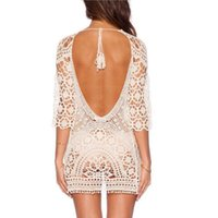 Wholesale robes plage for sale - 2018 Lace Crochet Beach Cover up Women Sexy Backless Bikini Coverup Robe De Plage Crochet Bikini Tunic Vacation Suncreen Wear