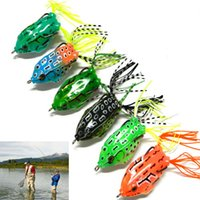 Wholesale Soft Plastic Bass Fishing - 6Pcs lot Frog lures Iscas Sapo Soft Plastic Fishing Bait With Hook Top Water Artificial Fish Tackle Simulation Bass 5.5CM 12.5G