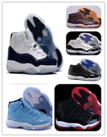 Wholesale Womans Sports - 11 XI Midnight Navy Win like 82 Space jam Legend blue black Velvet 72-10 Basketball shoes Mens Sports shoes 11s bred Gym red womans Sneakers