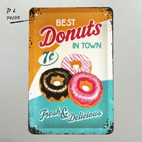 DL- Best Donuts in Town - Targhe in metallo per esterni targhe Retro Metal Sign 20x30cm Embossed Placard