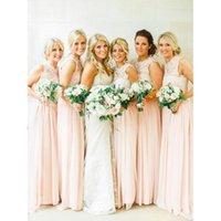 Wholesale Light Pink Bridesmaid Dresses Chiffon - Light Pink Bridesmaid Dresses A-line Chiffon Floor Length 2017 Princess Maid Of Honor Gowns Vestido Da Dama De Honra