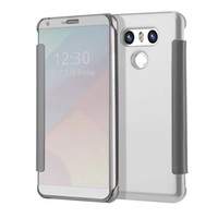 Wholesale Free Armbands - Luxury Plating Mirror Clear View Slim Flip Hard Case Cover For LG G6 free Shipping